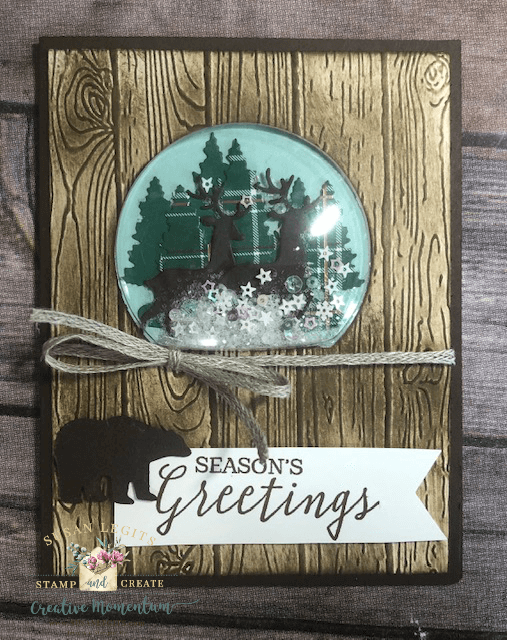Wooden Snow GLobe card
