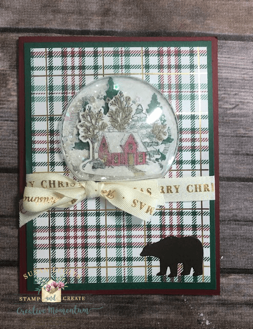 Plaid snow globe card